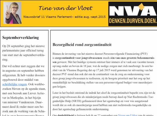 Tine van der Vloet nieuwsbrief
