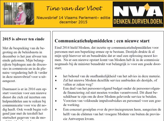 Nieuwsbrief december Tine van der Vloet