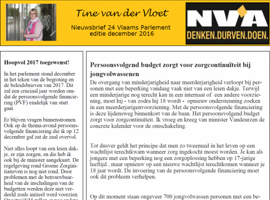 Tine van der Vloet nieuwsbrief december